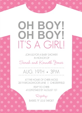 Oh Boy! Its A Girl Pink And White Onesie (Set) Girl Baby Shower Invitations