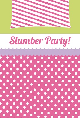 Pink Polka Dots And Stripes Slumber Party Invitation