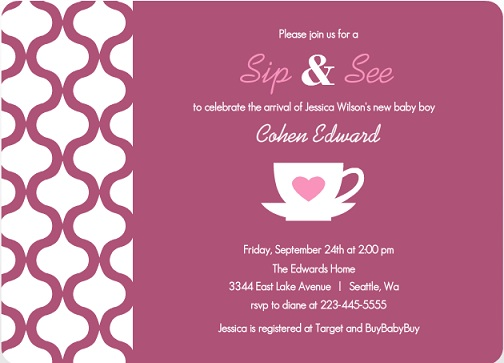 Purple Pattern Sip And See Baby Shower Invite