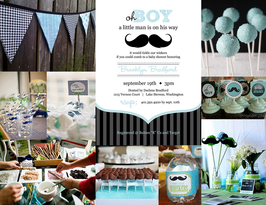 Baby Boy Shower Mustache Theme