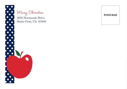 Apple And Navy Polka Dots (Set) Back To School Envelope