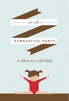 Red and Blue Gymnastics Kids Birthday Invitation