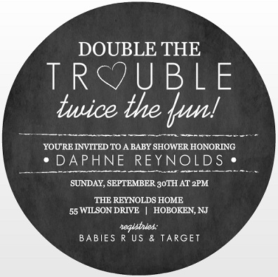Chalk Double Trouble Twins Baby Shower Invitation