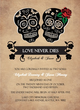 Day Of The Dead Skulls (Set) Halloween Wedding Invitation