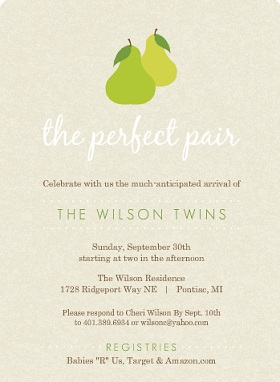 Green And Tan Perfect Pair Twin Baby Shower Invitation