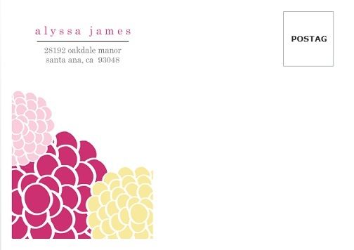 Pink and Yellow Whimsical Flowers Envelope