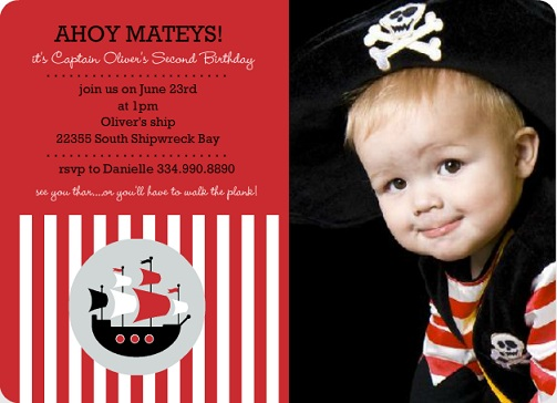 Red Striped Pirate Ship Photo (Set) Birthday Invite