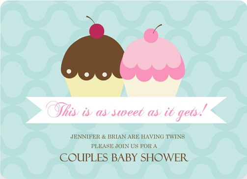 Two Cupcakes Twins Couples Baby Shower Invite