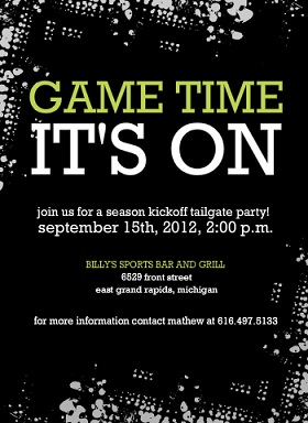 Tailgate Football Party Invitation Black