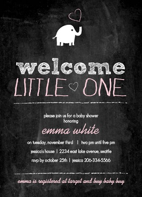 Elephant Chalkboard Baby Girl Shower Invitation
